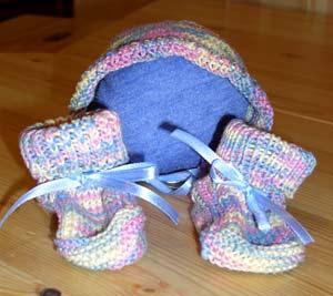...Чулочные спицы 3 (5 спиц), хлопок или шерсть 50 г = 100-120 м. Схема вязания пинеток для новорожденного...